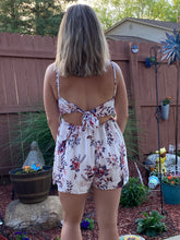 Load image into Gallery viewer, White Deep V Spaghetti Strap Lace Floral Romper