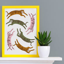 Load image into Gallery viewer, Jumping Tigers Print in Natural