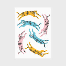Load image into Gallery viewer, Jumping Tigers Print in Bright