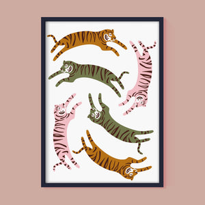 Jumping Tigers Print in Natural