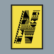 Load image into Gallery viewer, Stacking Shapes Initial Print in Black on Factory Yellow