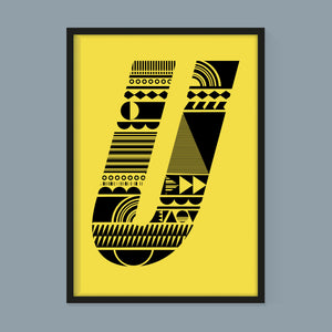 Stacking Shapes Initial Print in Black on Factory Yellow