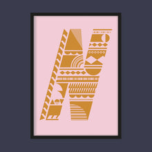 Load image into Gallery viewer, Stacking Shapes Initial Print in Mustard on Candy Pink