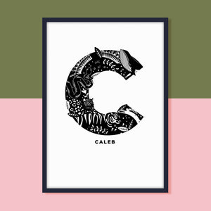 Animal Initial Print in Black