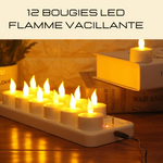 12 BOUGIES LED FLAMME VACILLANTE RECHARGEABLE