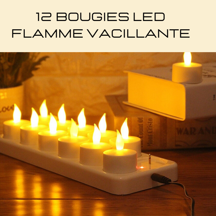 Bougie led flamme vacillante rechargeable