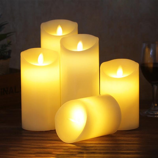 Lot de 3 bougies led flamme vacillante blanche