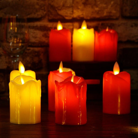 BOUGIE LED FLAMME VACILLANTE ROUGE ET JAUNE