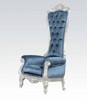 Baroque Style Tufted Light Blue Throne Chair