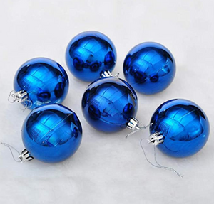 Blue and Silver Shiny Balls Home Baubles Decorations