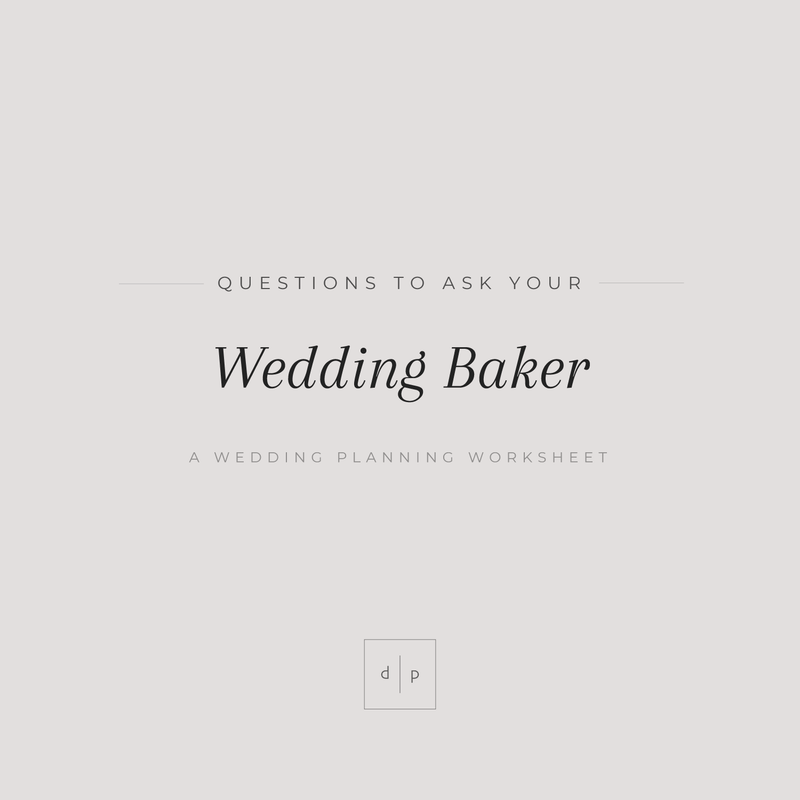 Worksheet: Questions to Ask Your Wedding Cake Baker