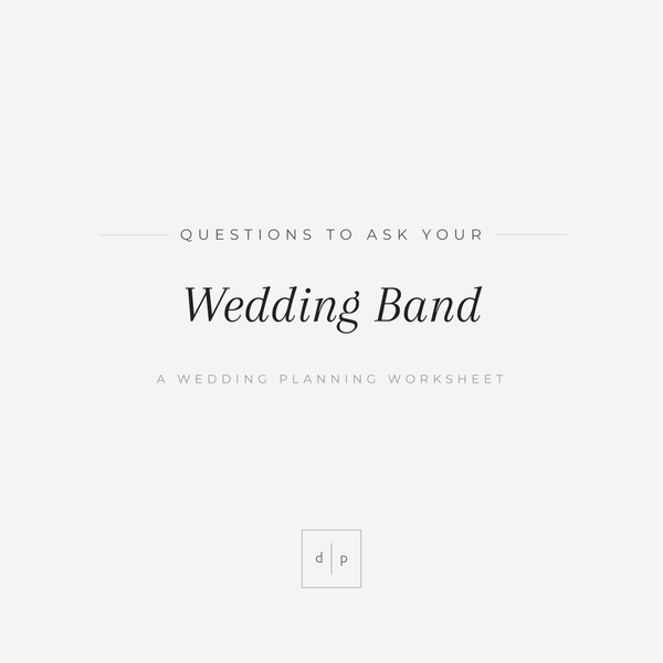 Worksheet: Questions to Ask Your Wedding Band