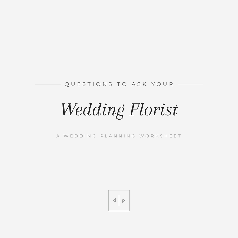 Worksheet: Questions to Ask Your Wedding Florist