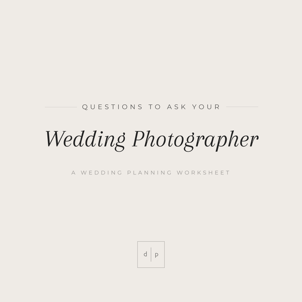 Worksheet: Questions to Ask Your Wedding Photographer