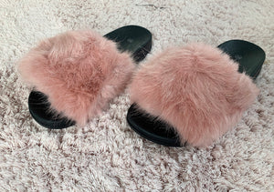Slippers fluffy oudroze