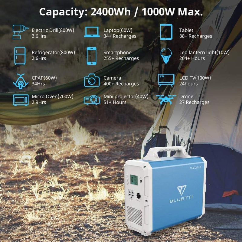 MaxOak Bluetti 2400Wh | EB240 Portable Solar Power Station