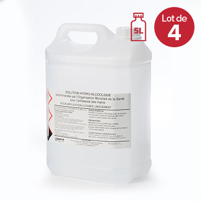 Solution Hydroalcoolique x4<br/>Bidon de 5L