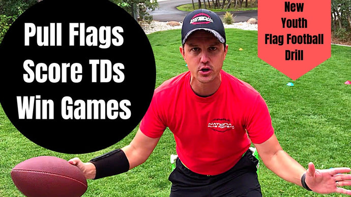 Youth Flag Football Drill for Kids - Cut Zone Pull - cutting, juking, flag pulling