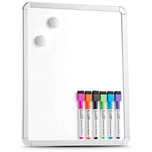 Magnetic 11'' x 14'' Small Dry Erase Board. Includes 6 Magnetic Dry Erase Markers, Assorted Colors. Great Whiteboard for Fridge, Locker, and More!