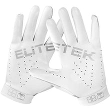Load image into Gallery viewer, EliteTek RG-14 Football Gloves Youth and Adult (White/Silver, Youth M)