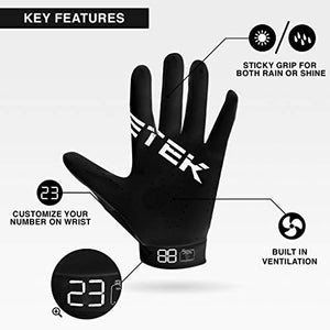 EliteTek RG-14 Football Gloves - Youth Football Gloves - Football Gloves Kids - Football Gloves Men(Black/Black, Youth S)
