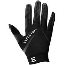 Load image into Gallery viewer, EliteTek RG-14 Football Gloves - Youth Football Gloves - Football Gloves Kids - Football Gloves Men(Black/Black, Youth S)