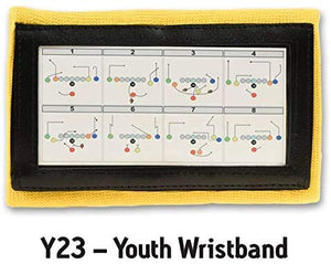 Wristband Interactive Y23 - Football Wristbands - Wrist Coach - QB Wristband - Football Play Wristbands - Playbook Wristband (Yellow, 8 Pack)