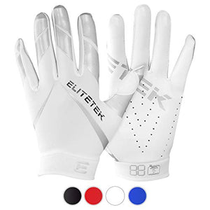 EliteTek RG-14 Football Gloves Youth and Adult (White/Silver, Youth M)