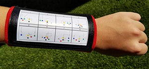 Wristband Interactive Y23 - Football Wristbands - Wrist Coach - QB Wristband - Football Play Wristbands - Playbook Wristband (Red, 5 Pack)