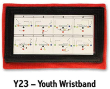 Load image into Gallery viewer, Wristband Interactive Y23 - Football Wristbands - Wrist Coach - QB Wristband - Football Play Wristbands - Playbook Wristband (Red, 5 Pack)