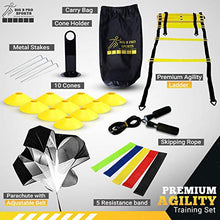 Load image into Gallery viewer, Big B Pro Sports Speed Agility Training Set - Includes Ladder, 10 Cones with Holder, Running Parachute, Jump Rope, Resistance Bands - for Training Football, Soccer, and Basketball Athletes (Yellow)