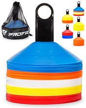 Load image into Gallery viewer, Pro Disc Cones (Set of 50) - Agility Soccer Cones with Carry Bag and Holder for Training, Football, Kids, Sports, Field Cone Markers - Includes Top 15 Drills eBook (Multi-Color)