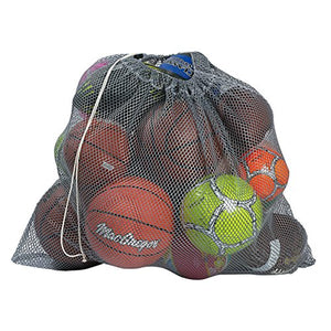 "Mesh Equipment Bag, Grey - 32"" x 36"" - Adjustable, sliding drawstring cord closure. Perfect mesh bag for parent or coach, making it easy to transport and keeping your sporting gear organized."