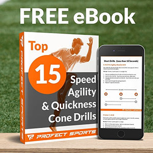Pro Disc Cones (Set of 50) - Agility Soccer Cones with Carry Bag and Holder for Training, Football, Kids, Sports, Field Cone Markers - Includes Top 15 Drills eBook (Multi-Color)
