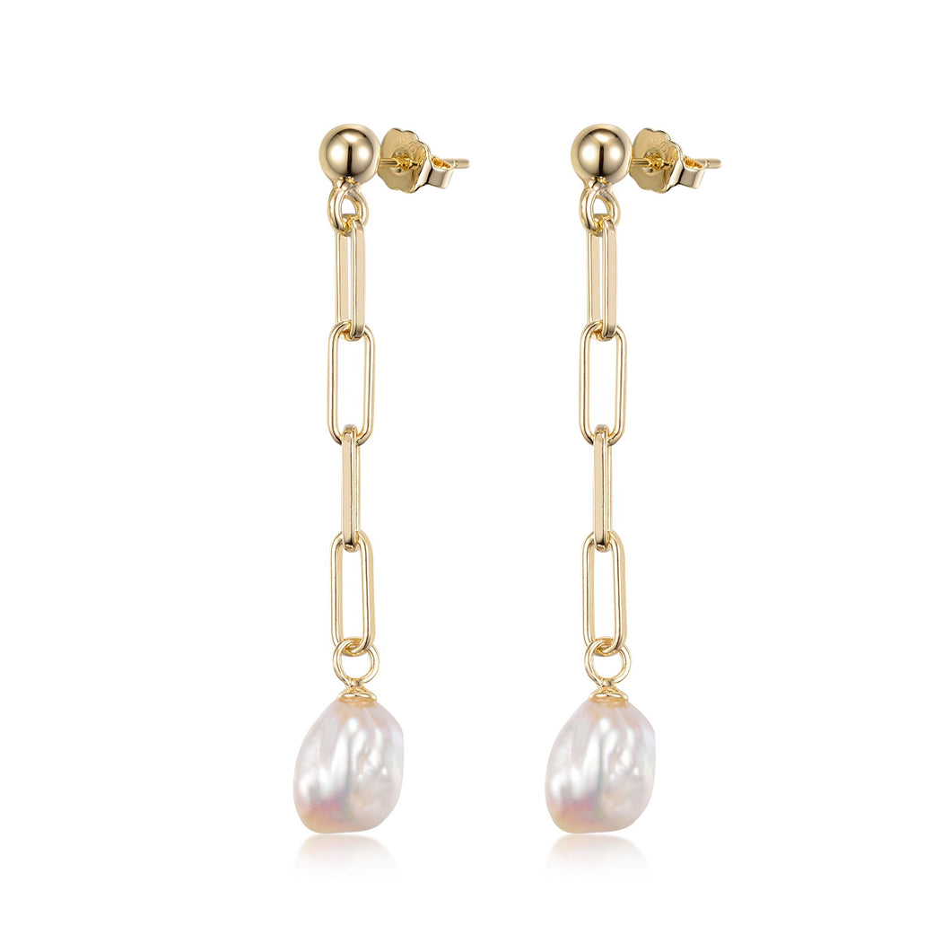 Pula Chain Drop Pearl Earrings
