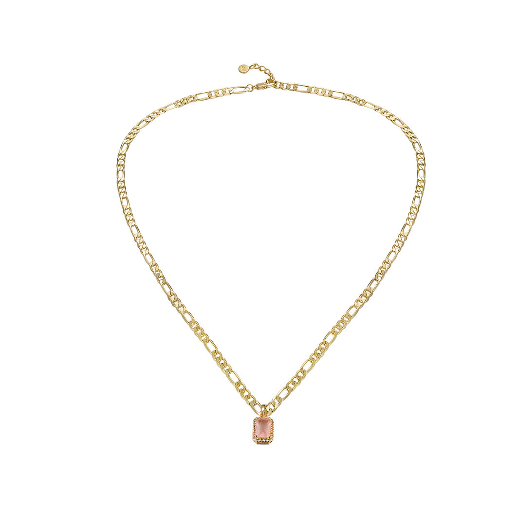 Natalie Charm Necklace Rose Quartz