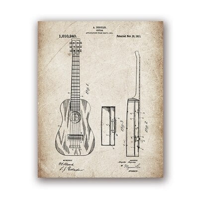 Guitar Patent Blueprints Vintage Posters And Prints Music Wall Art Can World Shopping Mall