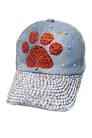 Red Paw Distressed Denim Cap