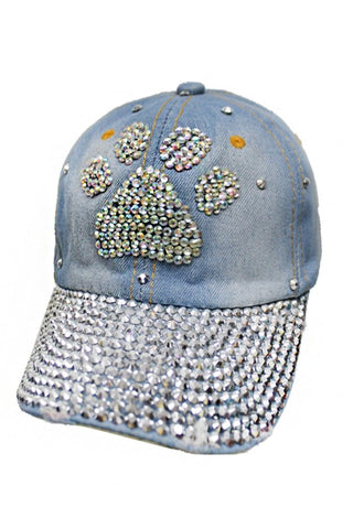 White Paw Distressed Denim Cap