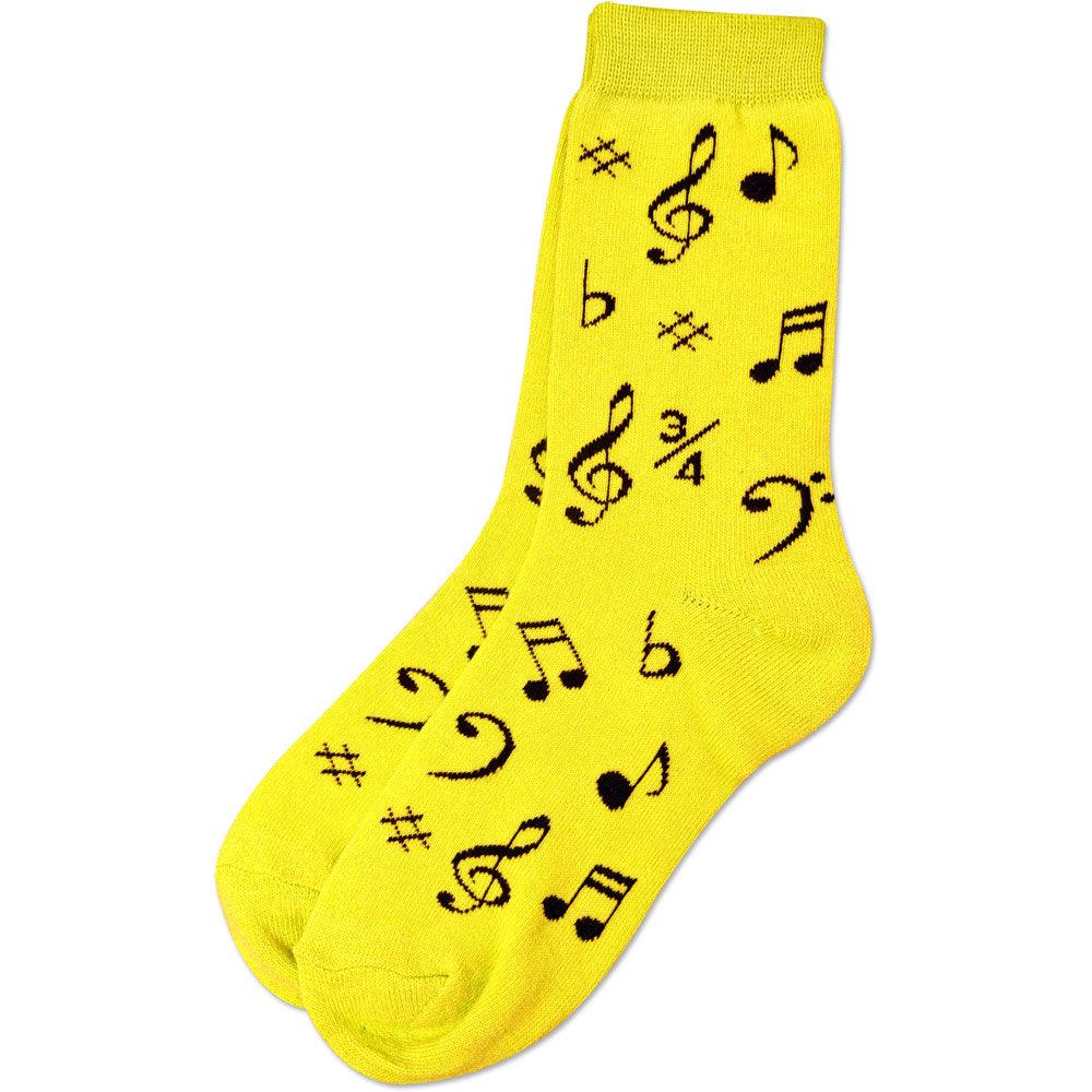 Music Notes Yellow Socks