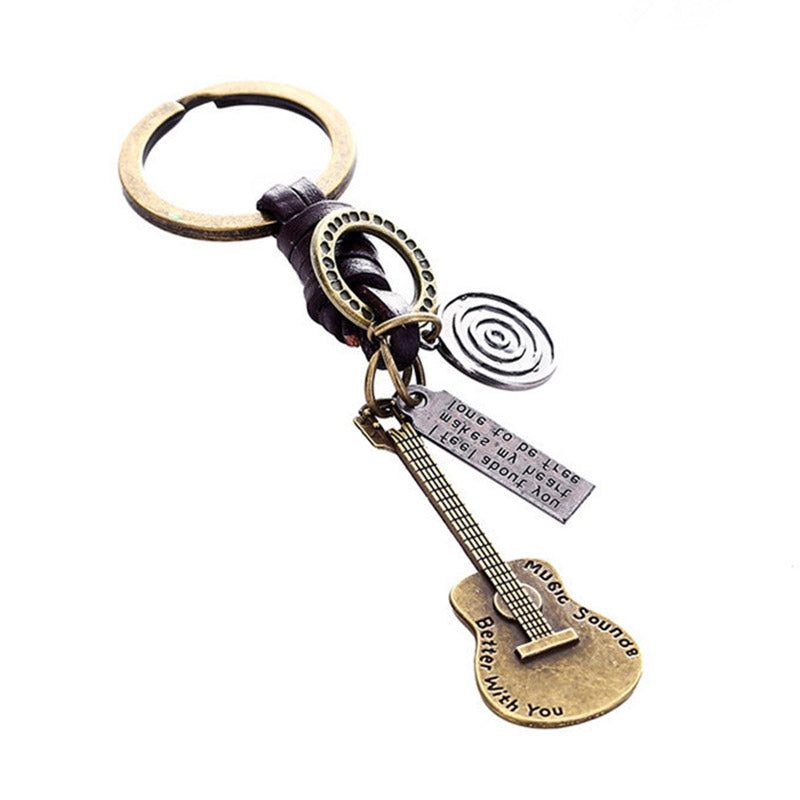 Guitar Leather Keychain