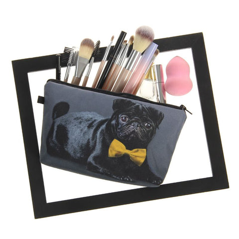 Yellow Bow Pug Make-Up Bag