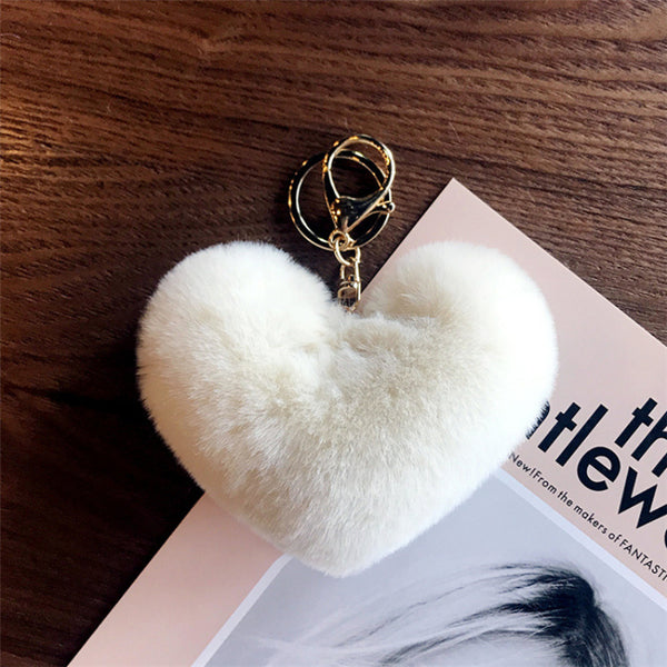 White Heart Fluffy Keychain