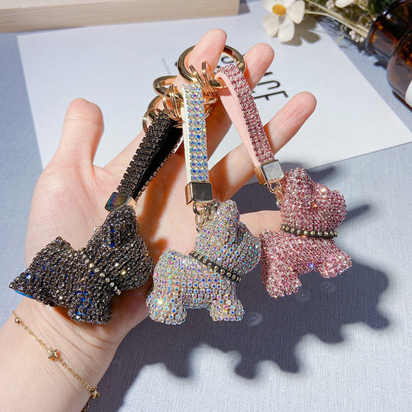 Pink Crystals Dog Keychain