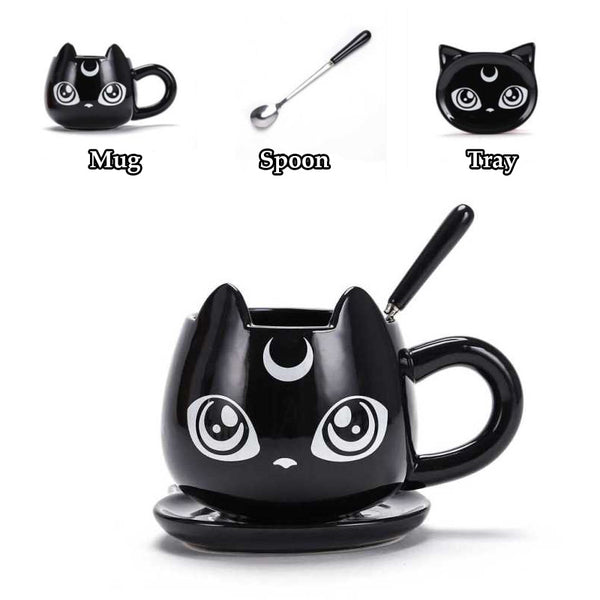 Moon Cat Ceramic Mug, Tray & Spoon Set (3-pieces)