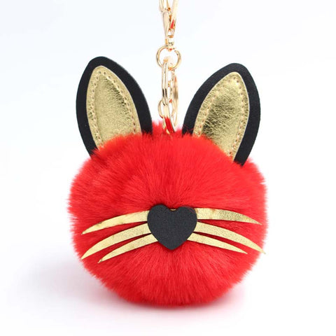 Cat Red Pompon Keychain