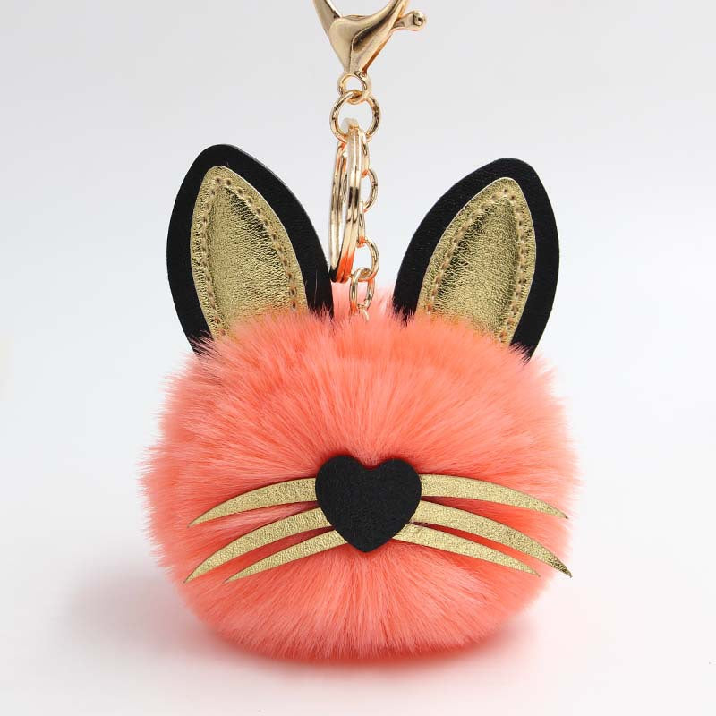 Cat Orange Pompon Keychain