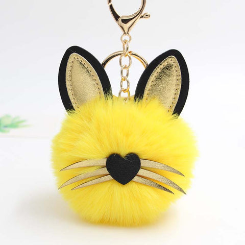Cat Yellow Pompon Keychain
