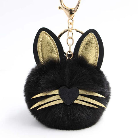 Cat Black Pompon Keychain