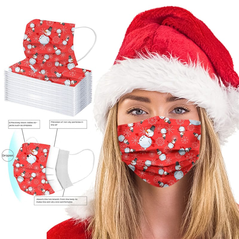 Christmas Snowman Disposable Face Cover (10 Pack)